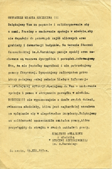 Odezwa Komitetów Strajkowych do mieszkańców Szczecinie, 19.12.1970. Muzeum Narodowe w Szczecinie, dar Adama Węglewskiego.