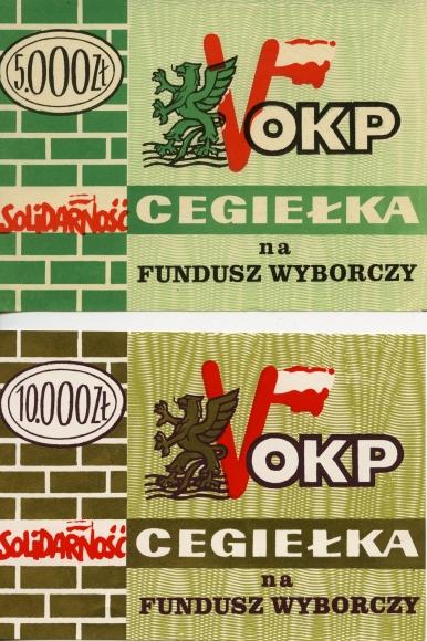 Cegiełka na Fundusz Wyborczy Obywatelskiego Komitetu Porozumiewawczego, Muzeum Narodowe w Szczecinie, dar Małgorzaty Kuwik.