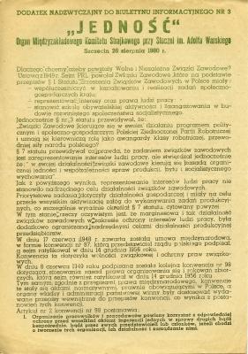 """Dodatek nadzwyczajny do biletynu informacyjnego """"Jedność"""" z 26 sierpnia 1980 roku, nr 3. Muzeum Narodowe w Szczecinie"""