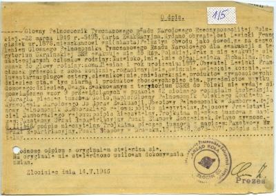 Karta ewakuacyjna na nazwisko Lewicki Franciszek wydana przez Związek Zawodowy Pracowników Kolejowych Zarzšd Koła w Złocieńcu 14 maja 1946 roku. PKP Polskie Linie Kolejowe S.A.