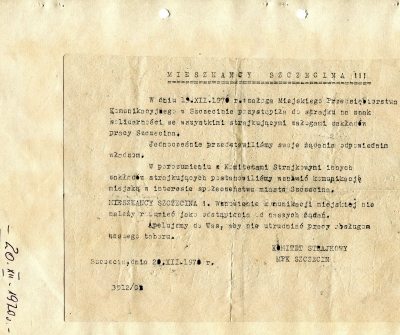 Odezwa Komitetu Strajkowego Miejskiego Przedsiębiorstwa Komunikacyjnego Szczecin do mieszkańców Szczecina z dnia 20 grudnia 1970 roku. Muzeum Narodowe w Szczecinie