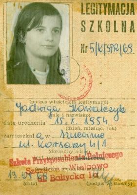 Legitymacja szkolna Jadwigi Kowalczyk. Muzeum Narodowe w Sczecinie / ze zbiorów Bolesława Kowalczyka.