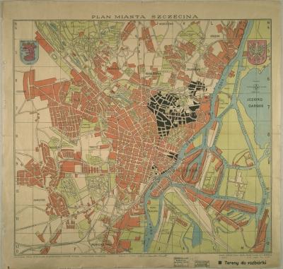Pierwszy plan miasta Szczecina z 1946 r. Kolorem czarnym oznaczono tereny, których zabudowa kwalifikowała się do rozbiórki. Archiwum Państwowe w Szczecinie.