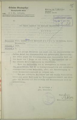 Skierowanie do obostrzonego aresztu polskiego robotnika Bernarda Rzepę za krytykę Niemiec w liście w 1942 roku. Archiwum Państwowe w Szczecinie