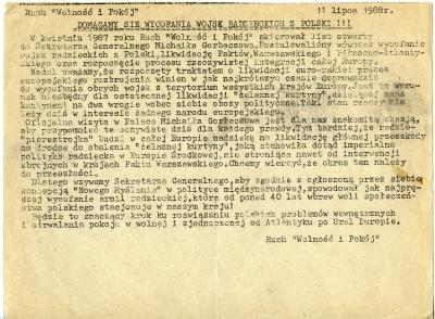 Ulotka 'Domagamy się wycofania wojsk radzieckich z Polski!!!' wystosowana przez Ruch Wolność i Pokój z 11 lipca 1988 roku. Muzeum Narodowe w Szczecinie