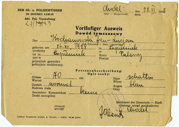 Ausweiss wystawiony na nazwisko Jana Kochanowskiego, Chodel 1943. Ze zbiorów Jana Kochanowskiego.