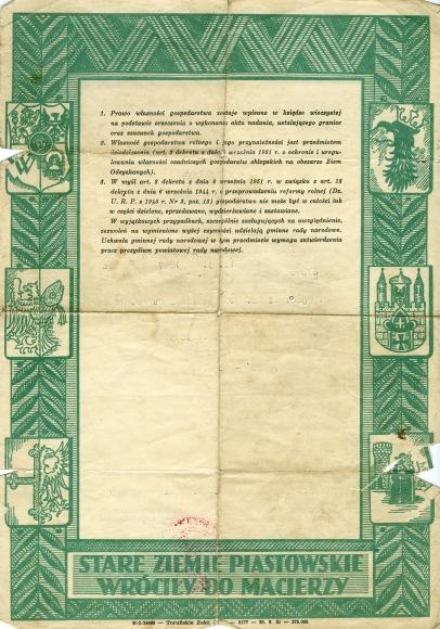 Akt nadania gospodarstwa rolnego w Chociwlu (pow. stargardzki) osadnikowi wysiedlonemu z Kresów Wschodnich, Stargard Szczeciński 1957. Ze zbiorów Heleny Rongiers.