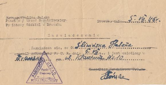 Zaświadczenie Państwowego Urzędu Repatriacyjnego wystawione na nazwisko Heleny Śliwińskiej. 1946. Ze zbiorów Janiny Niesobskiej.
