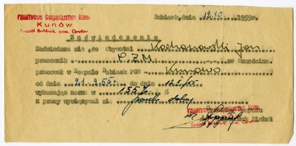 Świadectwo pracy Jana Kochanowskiego wystawione przez PGR Kunów, 1955. Ze zbiorów Jana Kochanowskiego.