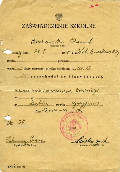 Zaświadczenie szkolne Kamila Orchowskiego, 1947. Ze zbiorów Kamila Orchowskiego.