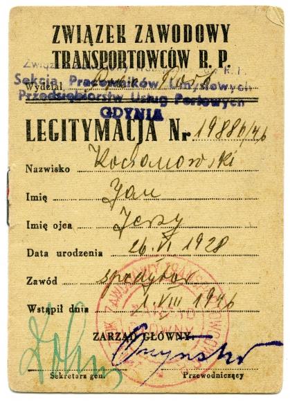 Legitymacja członkowska Związku Zawodowego Transportowców RP wydana na nazwisko Jana Kochanowskiego, 1946. Ze zbiorów Jana Kochanowskiego.