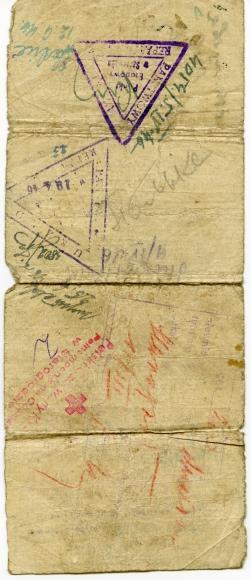 Zaświadczenie wydane w 1946 r. przez Polsko-Radziecką Komisję Mieszaną ds. Ewakuacji umożliwiające powrót z zesłania, Woroszyłowograd (dzisiejszy Ługiańsk, wschodnia Ukraina) 1946 r. Ze zbiorów Heleny Rongiers.