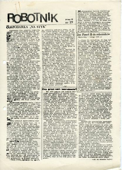 """Pismo """"Robotnik"""" założyli we wrześniu 1977 roku członkowie i współpracownicy KOR. Ukazywało się do 3 grudnia 1981. Ze zbiorów Mirosława Witkowskiego."""