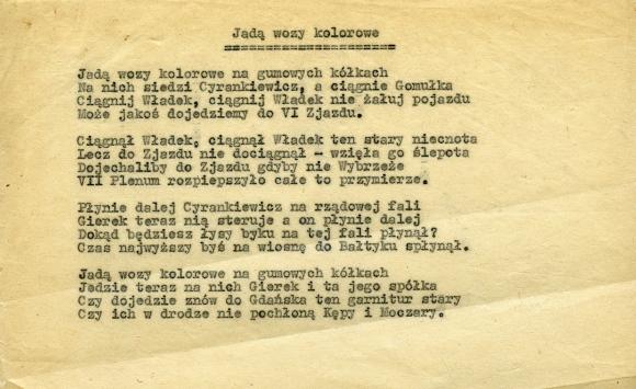 Poezja ulotna z okresu 1970-71. Muzeum Narodowe w Szczecinie, dar Jana Mordasewicza.