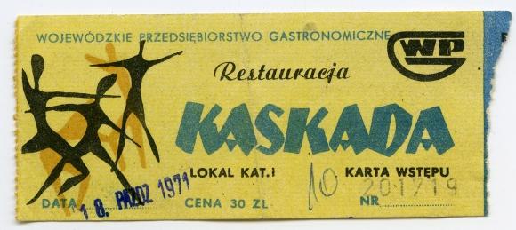Karta wstępu do restauracji Kaskada, 1979. Muzeum Narodowe w Szczecinie.