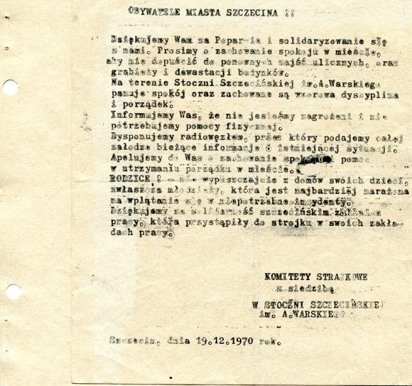 Odezwa sygnowana przez Komitety Strajkowego z siedzibą w Stoczni Szczecińskiej im. A. Warskiego., 19 grudnia 1970. Muzeum Narodowe w Szczecinie.