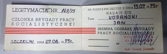 Legitymacja Członka Brygady Pracy Socjalistycznej. Własność: Mariusz Kopański.