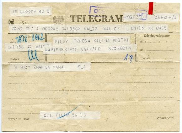 Ocenzurowany telegram z wiadomością o śmierci matki z okresu stanu wojennego. Muzeum Narodowe w Szczecinie, dar Teresy Kaliny.