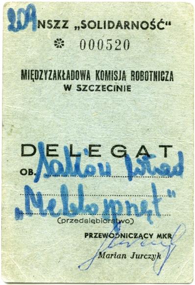 Mandat delegata Międzyzakładowej Komisji Robotniczej w Szczecinie. Muzeum Narodowe w Szczecinie, dar Władysława Saków.