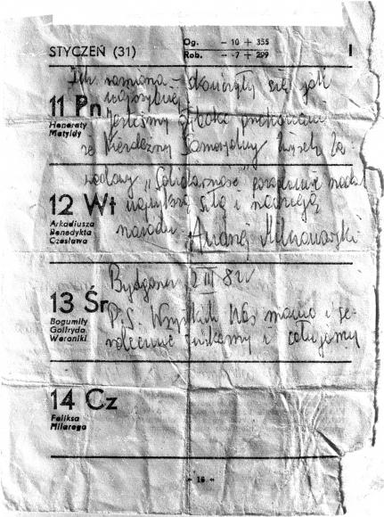 Gryps wysłany przez Andrzeja Milczanowskiego z bydgoskiego więzienia, 2 marca 1982 rok. Muzeum Narodowe w Szczecinie, dar  Ryszarda Dąbrowskiego.