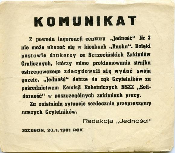 """Komunikat redakcji """"Jedności"""", 23 stycznia 1981. Muzeum Narodowe w Szczecinie."""