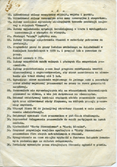 Postulaty strajkującej załogi Stoczni Szczecińskiej, 1980. Muzeum Narodowe w Szczecinie, dar Agnieszki Kuchcińskiej-Kurcz.