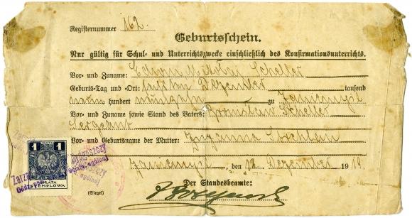 Akt urodzenia Edwina Schellera, Zaniemyśl 1919. Ze zbiorów Teresy Jolanty Pajewskiej Scheller.