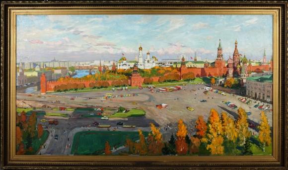 A. W. Marszałow, Widok na Plac Czerwony, l. 80. XX w., olej, płótno