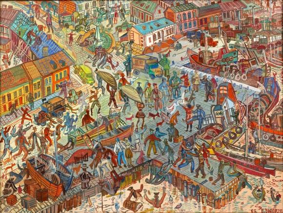 Edward Dwurnik, Świnoujście z cyklu Podróże autostopem, 1967, olej, płótno