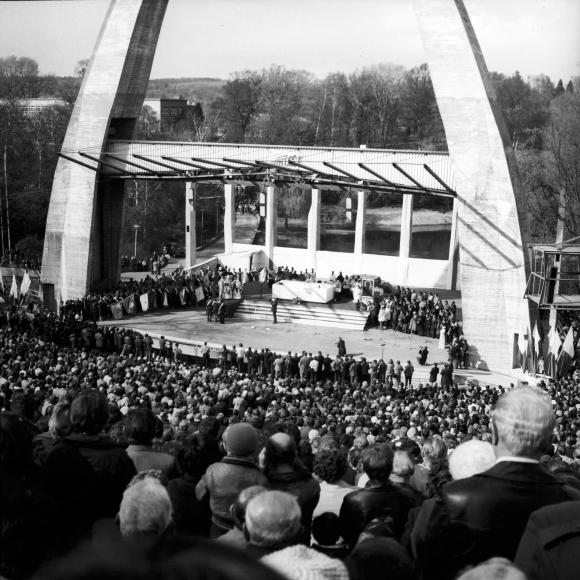 3 maja 1981 roku w amfiteatrze w parku Kasprowicza w Szczecinie odbyła się uroczystość poświęcenia sztandaru